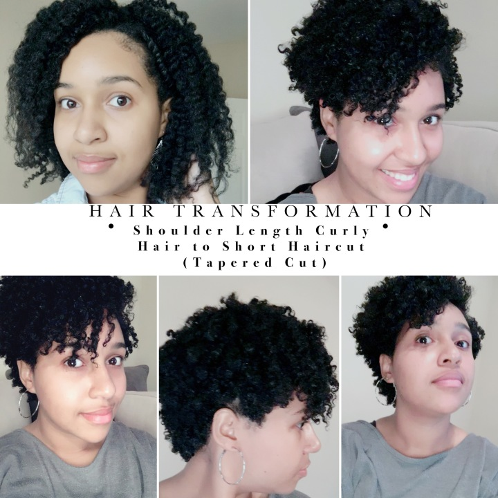 tyandra hair transformation shoulder curly length hair to short haircut curly natural hair tapered fro tapered afro haircut